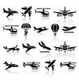 set aircrafts black icons vector image
