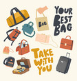 set icons various bags theme accessories vector image