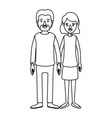silhouette caricature full body couple woman with vector image vector image