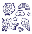 sticker set with unicorn rainbow and ice cream vector image vector image
