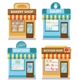stores building set flat style shop collection vector image vector image