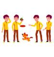 teen boy poses set pet dog friends life vector image vector image