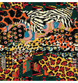 traditional african fabric and wild animal skins vector image vector image