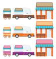 trucks shops vector image vector image