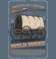 wild west american western wagon cart and rifle vector image vector image