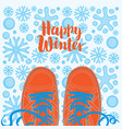 winter banner with shoes on snowy background vector image vector image