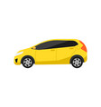 yellow hatchback car icon in flat design vector image vector image