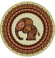 colored cute elephant illistration in frame vector image