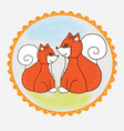label fox mom and baby vector image