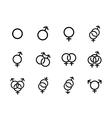 black Sexual orientation icons se vector image