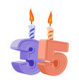 35 years birthday number with festive candle for vector image vector image