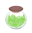A Jar of Cereal Plant of Green Rice vector image