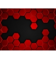 Abstract red and black background with hexagons