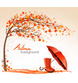 autumn banners with trees and umbrella and rain