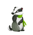 badger with scarf forest animal cartoon character vector image