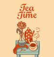 banner on tea theme with inscription tea time vector image vector image