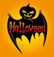 black bat with pumpkin head vector image vector image