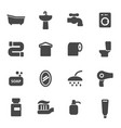 black bathroom icons set vector image vector image