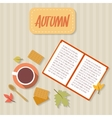 Book cup of tea cookies scarf and autumn leaves vector image