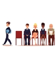 Business people men and women waiting for job vector image