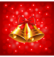 Christmas bells on red background vector image