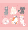 collection six cute doodle funny hand drawn vector image