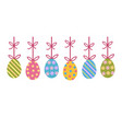 colorful decorated painted easter eggs hanging vector image