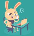 Cute Angry Bunny at Computer vector image vector image