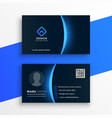 dark business card template with blue light effect vector image vector image