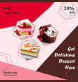 delicious dessert offer social media post vector image vector image