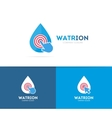 drop and click logo combination Aqua and vector image