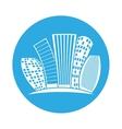 emblem buildings line sticker design vector image vector image