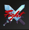 fight game element with crossed swords vector image vector image