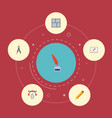 flat icons writing screen compass and other vector image vector image