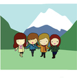 Four cheerful girls with mountain in background vector image vector image