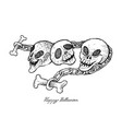 hand drawn of skull and chains for halloween celeb vector image
