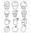 hand drawn sweets and dessert set ice cream vector image vector image