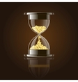 Hourglass with gold coins over dark background vector