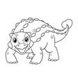 little ankylosaurus cartoon bw vector image vector image