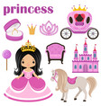 little princess castle and carriage vector image vector image