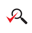magnifier with check mark - black icon on white vector image