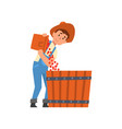 male farmer pouring coffee beans into large basket vector image vector image
