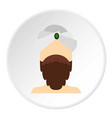man with beard and mustache wearing turban icon vector image vector image