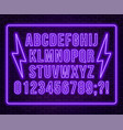neon purple font bright capital letters with vector image vector image