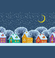 night winter landscape with colored country houses vector image vector image