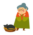 old woman senior person looking at sleeping cat vector image vector image