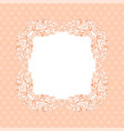 ornamental frame on light pink background with vector image