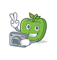 photography green apple character cartoon vector image vector image