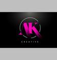 pink ak brush stroke letter logo design vector image vector image