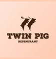 retro vintage pig pork with spatula and fork vector image
